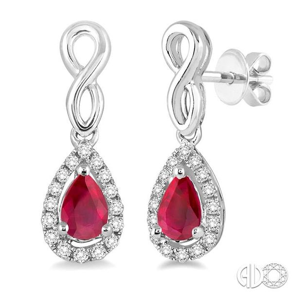5x3 MM Pear Shape Ruby and 1/6 Ctw Round Cut Diamond Earrings in 10K White Gold Becker's Jewelers Burlington, IA