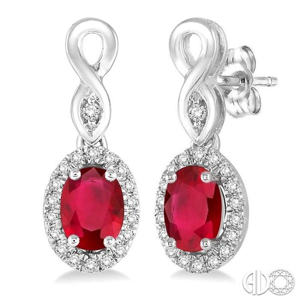 5x3 MM Oval Cut Ruby and 1/6 Ctw Round Cut Diamond Earrings in 14K White Gold Becker's Jewelers Burlington, IA