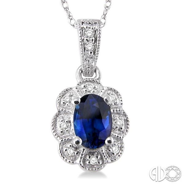 6x4mm Oval Cut Sapphire and 1/20 Ctw Single Cut Diamond Pendant in 10K White Gold with Chain Image 3 Becker's Jewelers Burlington, IA
