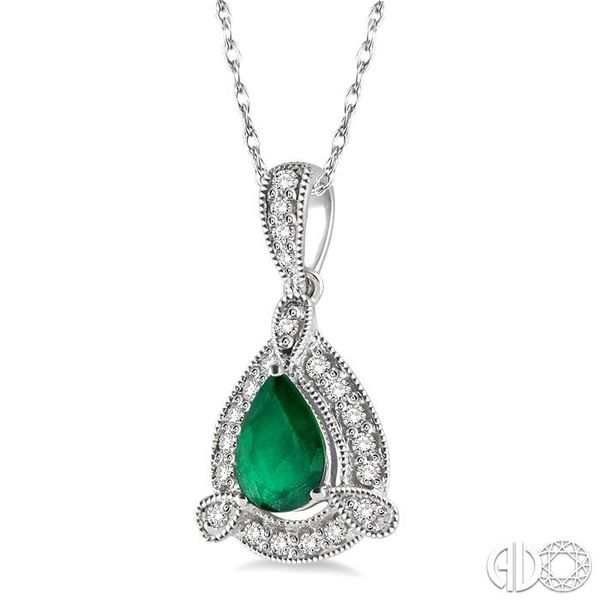 6x4 mm Pear Shape Emerald and 1/10 Ctw Round Cut Diamond Pendant in 14K White Gold with Chain Image 2 Becker's Jewelers Burlington, IA