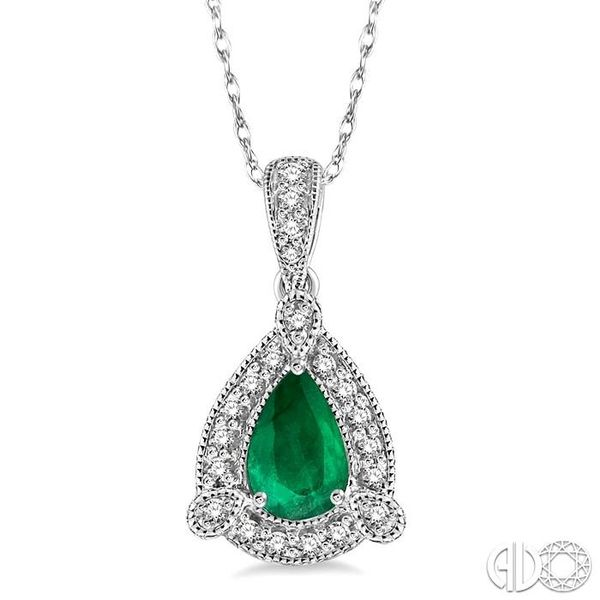 6x4 mm Pear Shape Emerald and 1/10 Ctw Round Cut Diamond Pendant in 14K White Gold with Chain Becker's Jewelers Burlington, IA