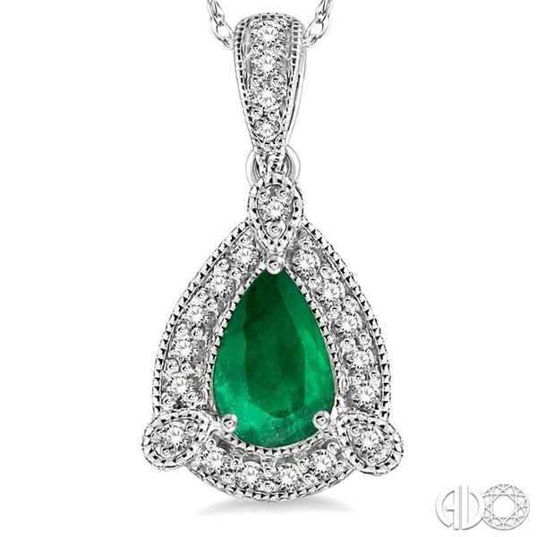 6x4 mm Pear Shape Emerald and 1/10 Ctw Round Cut Diamond Pendant in 14K White Gold with Chain Image 3 Becker's Jewelers Burlington, IA
