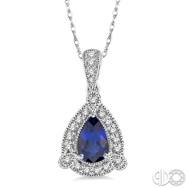 6x4 mm Pear Shape Sapphire and 1/10 Ctw Round Cut Diamond Pendant in 14K White Gold with Chain Becker's Jewelers Burlington, IA