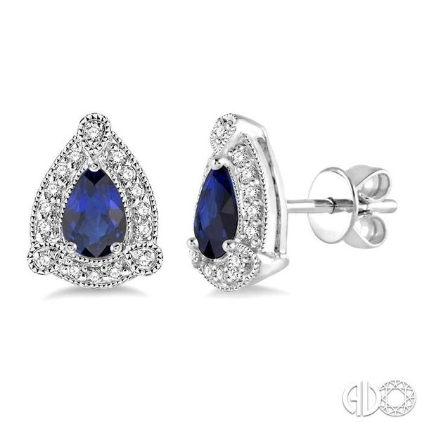 5x3 mm Pear Shape Sapphire and 1/6 Ctw Single Cut Diamond Earrings in 10K White Gold Becker's Jewelers Burlington, IA