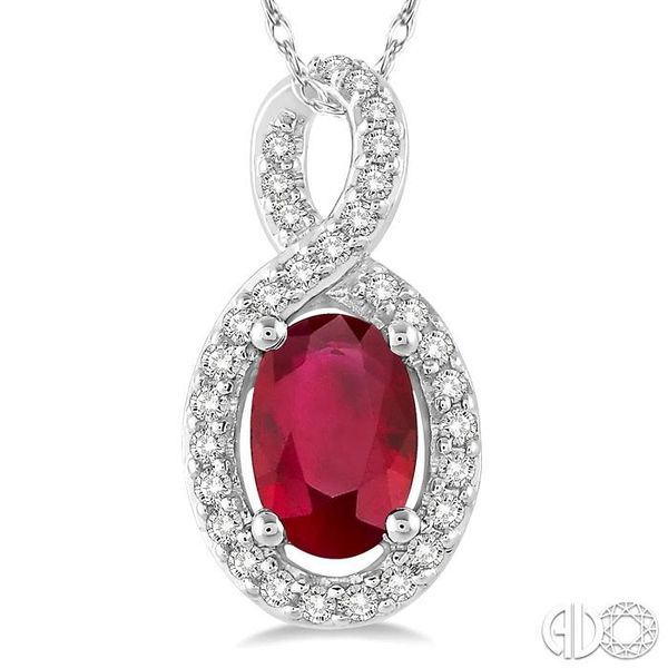 6x4 MM Oval Cut Ruby and 1/10 Ctw Round Cut Diamond Pendant in 14K White Gold with Chain Image 3 Becker's Jewelers Burlington, IA