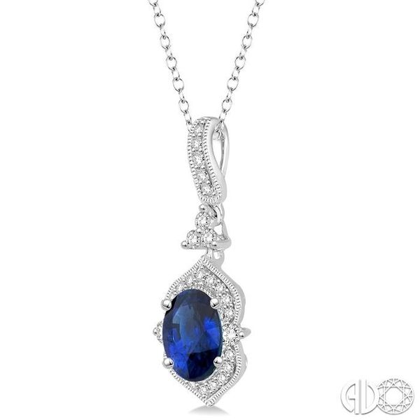 6x4 MM Oval Shape Sapphire and 1/5 Ctw Diamond Pendant in 14K White Gold with Chain Image 2 Becker's Jewelers Burlington, IA