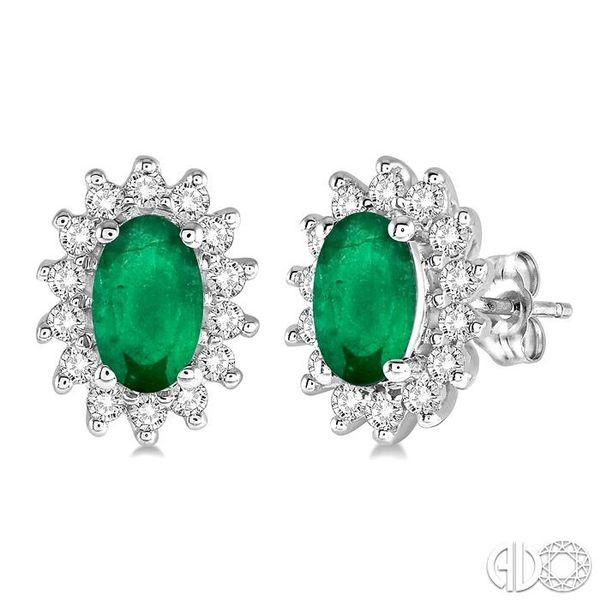 1/5 Ctw Round Cut Diamond and Oval Cut 5x3mm Emerald Center Sunflower Precious Earrings in 10K White Gold Becker's Jewelers Burlington, IA
