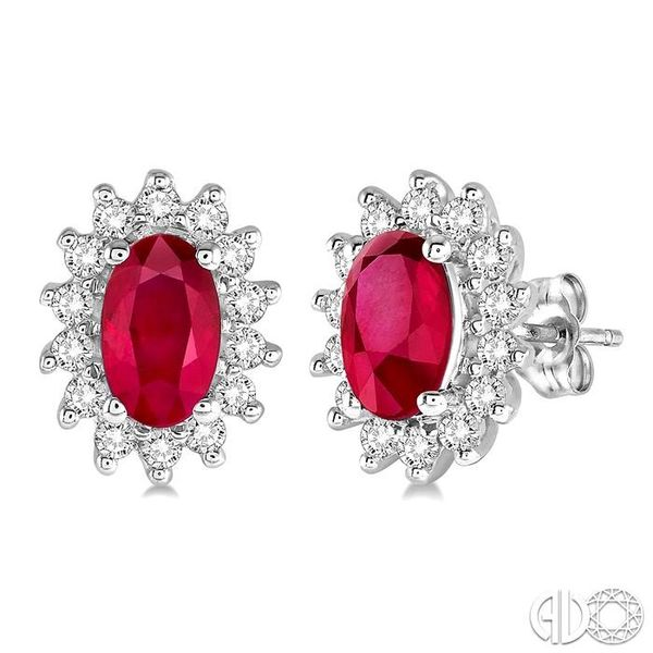 1/5 Ctw Round Cut Diamond and Oval Cut 5x3mm Ruby Center Sunflower Precious Earrings in 10K White Gold Becker's Jewelers Burlington, IA