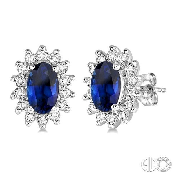 1/5 Ctw Round Cut Diamond and Oval Cut 5x3mm Sapphire Center Sunflower Precious Earrings in 10K White Gold Becker's Jewelers Burlington, IA