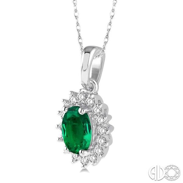 1/8 Ctw Round Cut Diamond and Oval Cut 6x4mm Emerald Center Sunflower Precious Pendant in 10K White Gold with chain Image 2 Becker's Jewelers Burlington, IA