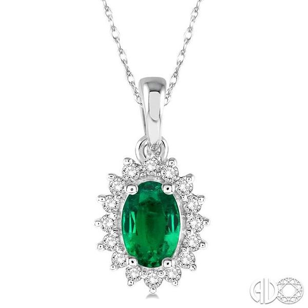 1/8 Ctw Round Cut Diamond and Oval Cut 6x4mm Emerald Center Sunflower Precious Pendant in 10K White Gold with chain Becker's Jewelers Burlington, IA