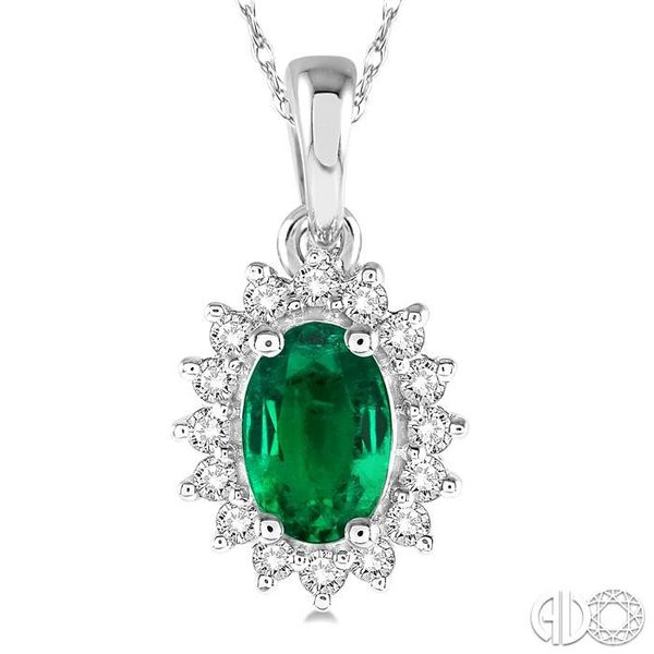 1/8 Ctw Round Cut Diamond and Oval Cut 6x4mm Emerald Center Sunflower Precious Pendant in 10K White Gold with chain Image 3 Becker's Jewelers Burlington, IA