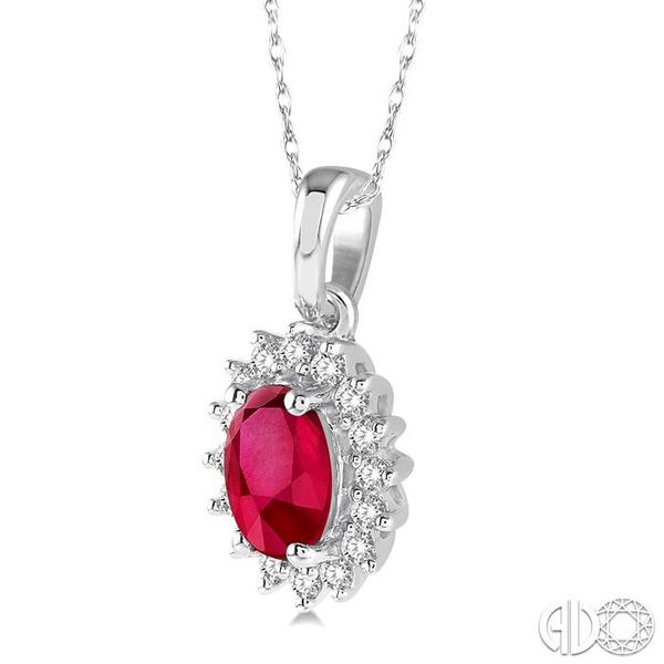 1/8 Ctw Round Cut Diamond and Oval Cut 6x4mm Ruby Center Sunflower Precious Pendant in 10K White Gold with chain Image 2 Becker's Jewelers Burlington, IA