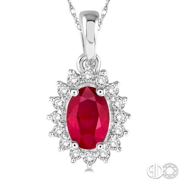 1/8 Ctw Round Cut Diamond and Oval Cut 6x4mm Ruby Center Sunflower Precious Pendant in 10K White Gold with chain Image 3 Becker's Jewelers Burlington, IA