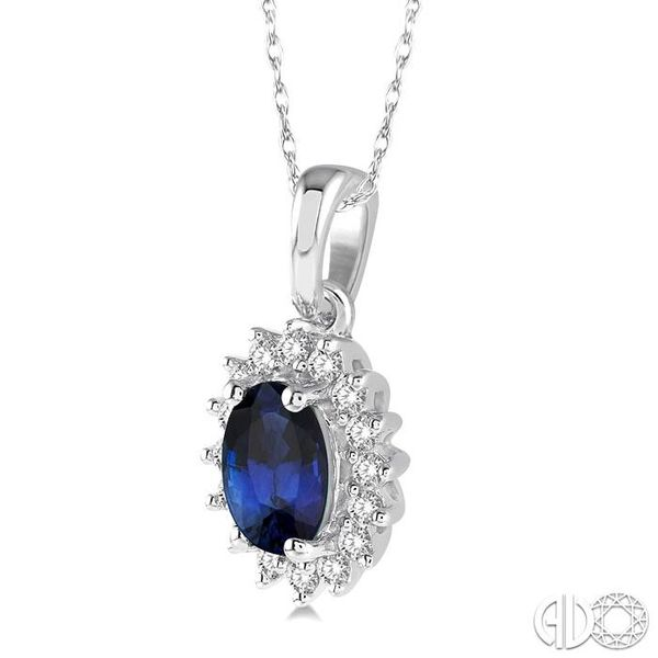 1/8 Ctw Round Cut Diamond and Oval Cut 6x4mm Sapphire Center Sunflower Precious Pendant in 10K White Gold with chain Image 2 Becker's Jewelers Burlington, IA