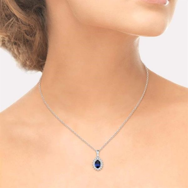 1/8 Ctw Round Cut Diamond and Oval Cut 6x4mm Sapphire Center Sunflower Precious Pendant in 10K White Gold with chain Image 4 Becker's Jewelers Burlington, IA
