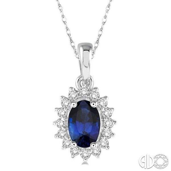 1/8 Ctw Round Cut Diamond and Oval Cut 6x4mm Sapphire Center Sunflower Precious Pendant in 10K White Gold with chain Becker's Jewelers Burlington, IA
