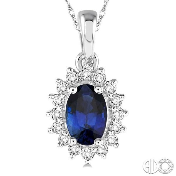 1/8 Ctw Round Cut Diamond and Oval Cut 6x4mm Sapphire Center Sunflower Precious Pendant in 10K White Gold with chain Image 3 Becker's Jewelers Burlington, IA