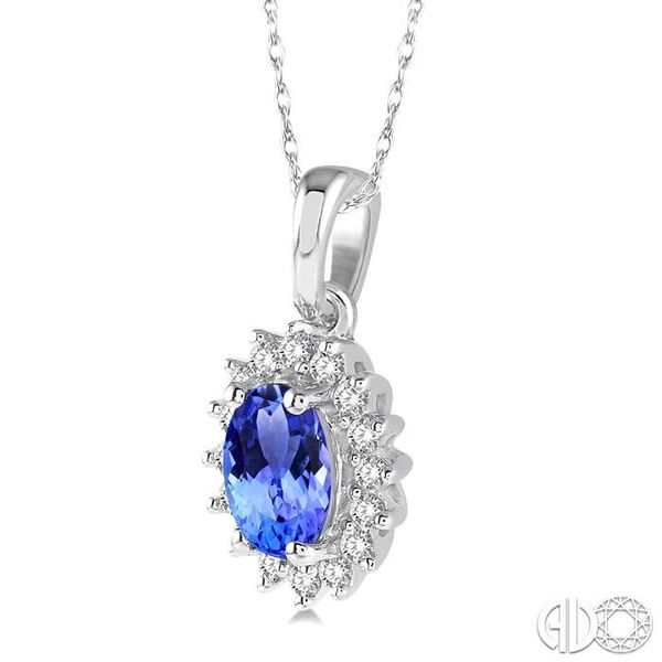 1/8 Ctw Round Cut Diamond and Oval Cut 6x4mm Tanzanite Center Sunflower Precious Pendant in 10K White Gold with chain Image 2 Becker's Jewelers Burlington, IA
