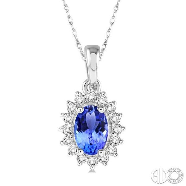 1/8 Ctw Round Cut Diamond and Oval Cut 6x4mm Tanzanite Center Sunflower Precious Pendant in 10K White Gold with chain Becker's Jewelers Burlington, IA