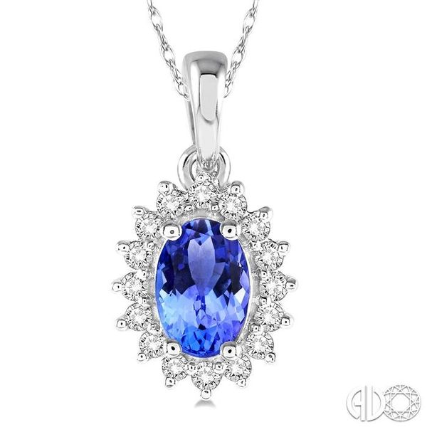1/8 Ctw Round Cut Diamond and Oval Cut 6x4mm Tanzanite Center Sunflower Precious Pendant in 10K White Gold with chain Image 3 Becker's Jewelers Burlington, IA