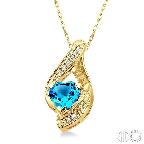 7mm Heart Shape Blue Topaz and 1/20 Ctw Single Cut Diamond Pendant in 10K Yellow Gold with Chain Image 2 Becker's Jewelers Burlington, IA