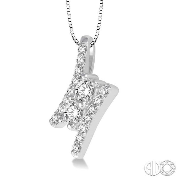 3/4 Ctw Twin Center Parallel Bar Round Cut Diamond 2Stone Pendant With Link Chain in 14K White Gold Image 2 Becker's Jewelers Burlington, IA