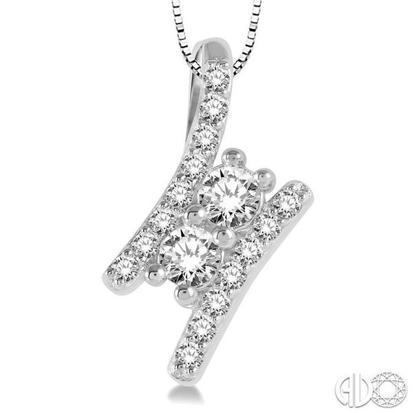 3/4 Ctw Twin Center Parallel Bar Round Cut Diamond 2Stone Pendant With Link Chain in 14K White Gold Image 3 Becker's Jewelers Burlington, IA