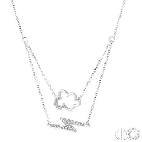 1/6 Ctw Cloud and Lightning Accent Round Cut Diamond Layered Pendant With Link Chain in 10K White Gold Image 2 Becker's Jewelers Burlington, IA