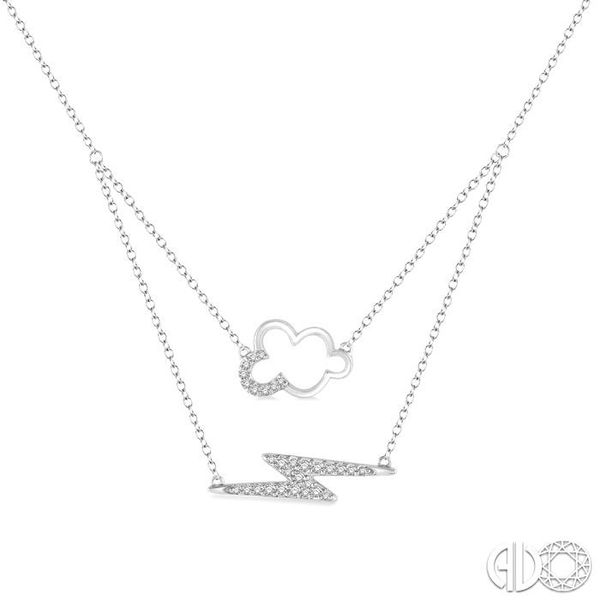 1/6 Ctw Cloud and Lightning Accent Round Cut Diamond Layered Pendant With Link Chain in 10K White Gold Becker's Jewelers Burlington, IA