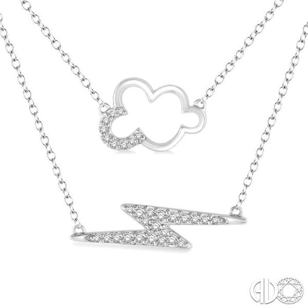 1/6 Ctw Cloud and Lightning Accent Round Cut Diamond Layered Pendant With Link Chain in 10K White Gold Image 3 Becker's Jewelers Burlington, IA