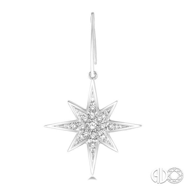 1/6 Ctw Star Charm Round Cut Diamond Earrings in 10K White Gold Image 2 Becker's Jewelers Burlington, IA