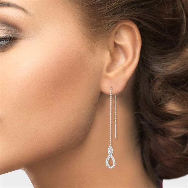 1/10 Ctw Figure 8 Round Cut Diamond Threader Earrings in 10K White Gold Image 4 Becker's Jewelers Burlington, IA