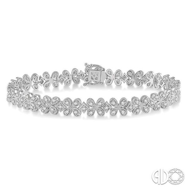 1 1/2 Ctw Floral Link Diamond Bracelet in 14K White Gold Becker's Jewelers Burlington, IA