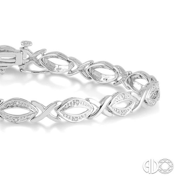 1/10 Ctw Round Cut Diamond Swirl Tennis bracelet in Sterling Silver Image 2 Becker's Jewelers Burlington, IA