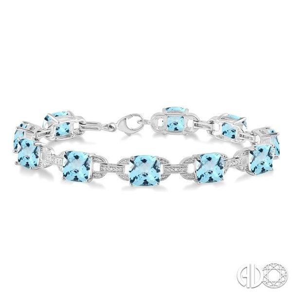 7x7 mm Cushion Cut Blue topaz and 1/20 Ctw Round Cut Diamond Fashion Tennis Bracelet in Sterling Silver Becker's Jewelers Burlington, IA