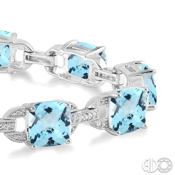 7x7 mm Cushion Cut Blue topaz and 1/20 Ctw Round Cut Diamond Fashion Tennis Bracelet in Sterling Silver Image 2 Becker's Jewelers Burlington, IA