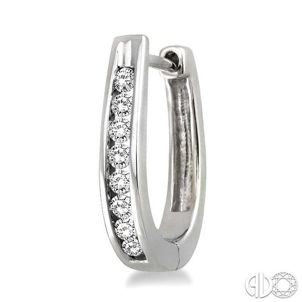 1/4 Ctw Round Cut Diamond Loop Earrings in Sterling Silver Image 3 Becker's Jewelers Burlington, IA