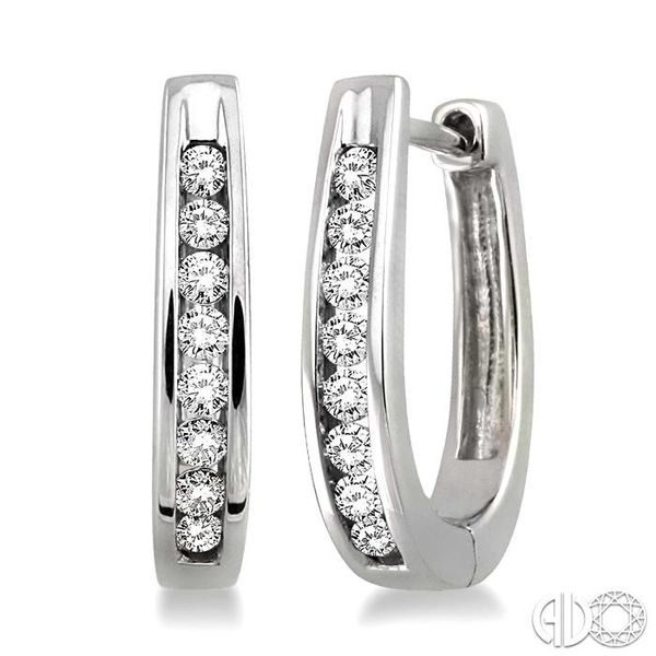 1/4 Ctw Round Cut Diamond Loop Earrings in Sterling Silver Becker's Jewelers Burlington, IA