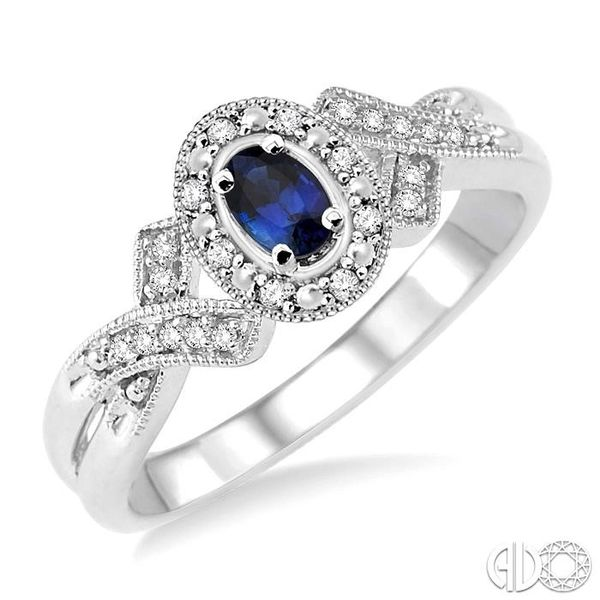 5x3 mm Oval Cut Sapphire and 1/50 Ctw Single Cut Diamond Ring in Sterling Silver Becker's Jewelers Burlington, IA