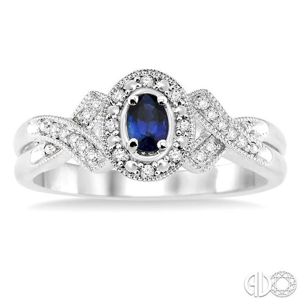 5x3 mm Oval Cut Sapphire and 1/50 Ctw Single Cut Diamond Ring in Sterling Silver Image 2 Becker's Jewelers Burlington, IA