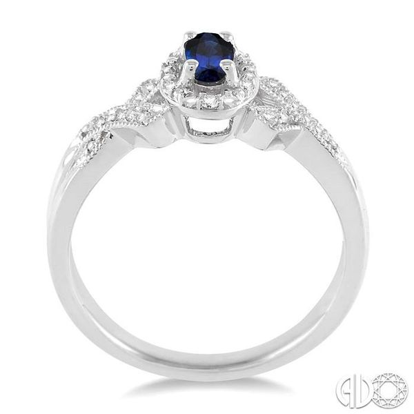 5x3 mm Oval Cut Sapphire and 1/50 Ctw Single Cut Diamond Ring in Sterling Silver Image 3 Becker's Jewelers Burlington, IA