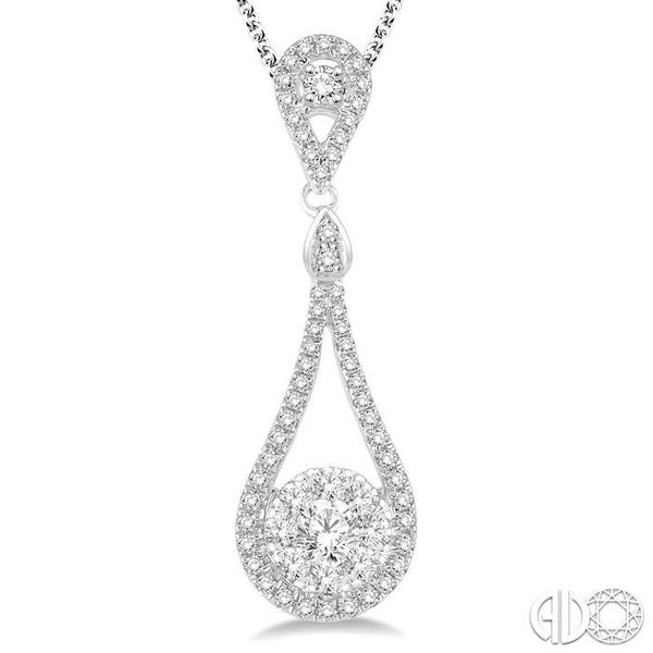 3/4 Ctw Diamond Lovebright Pendant in 14K White Gold with Chain Image 3 Becker's Jewelers Burlington, IA