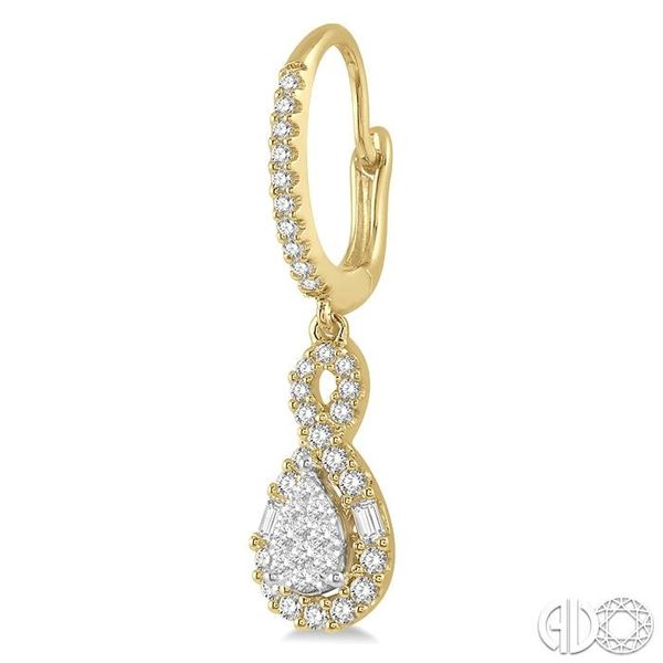 5/8 Ctw Pear Shape Lovebright Diamond Earrings in 14K Yellow and White Gold Image 3 Becker's Jewelers Burlington, IA