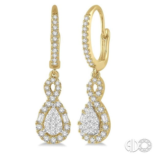 5/8 Ctw Pear Shape Lovebright Diamond Earrings in 14K Yellow and White Gold Becker's Jewelers Burlington, IA