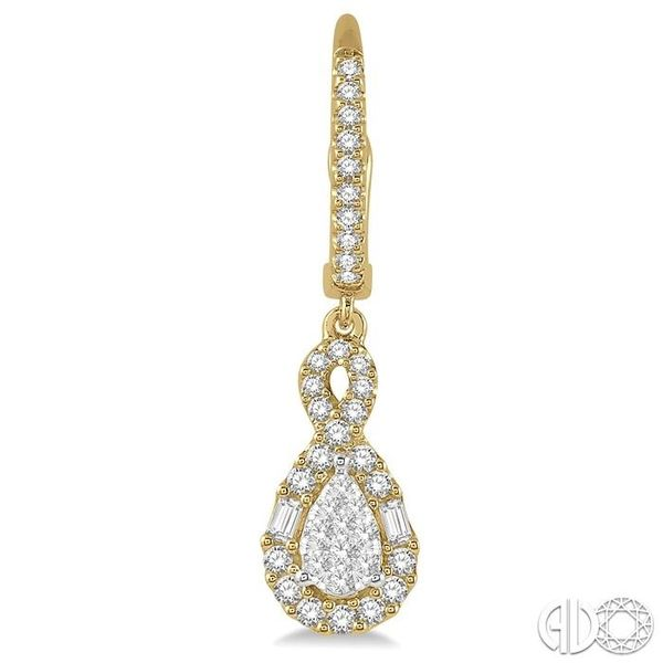 5/8 Ctw Pear Shape Lovebright Diamond Earrings in 14K Yellow and White Gold Image 2 Becker's Jewelers Burlington, IA