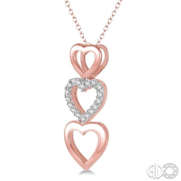 1/20 Ctw Triple Heart Link Round Cut Diamond Pendant With Link Chain in 10K Rose Gold Image 2 Becker's Jewelers Burlington, IA