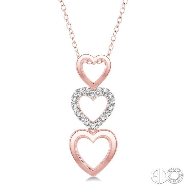 1/20 Ctw Triple Heart Link Round Cut Diamond Pendant With Link Chain in 10K Rose Gold Becker's Jewelers Burlington, IA