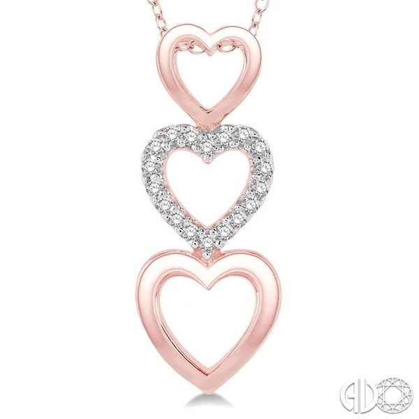 1/20 Ctw Triple Heart Link Round Cut Diamond Pendant With Link Chain in 10K Rose Gold Image 3 Becker's Jewelers Burlington, IA