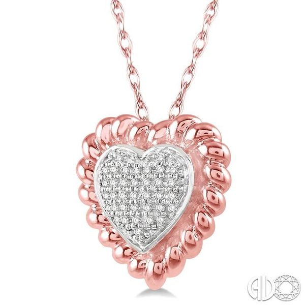 1/20 Ctw Cutwork Heart Round Cut Diamond Pendant in 10K Rose Gold with chain Image 2 Becker's Jewelers Burlington, IA